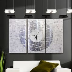 Metal Hand Painting Modern Abstract Wall White Silver Large Clock Artwork