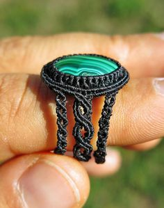 Elaborate handmade ring in micro micro (I used a 0.125 mm twine!) macrame knotting technique with high quality waxed macrame thread. The starring role is played by a beautiful Malachite from Congo, displaying nice color patterns. Unique item, handmade with love in 12 hours of devoted