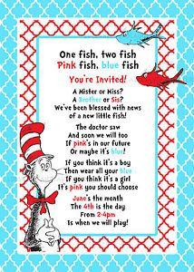 Dr Seuss Gender Reveal Baby Shower Invitation Digital File 5x7 Red Fish Blue | eBay