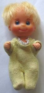 Sunshine Family baby Sweets doll. Also the baby for 1970's era Barbie Babysits. Probably the cutest of all the Mattel babies, and only 3 inches tall!