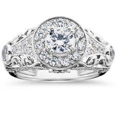 14k White Gold 1 1/2 ct TDW Vintage Diamond Round Engagement Wedding Ring (I-J, I2-I3) (Size 8), Women's (solid)