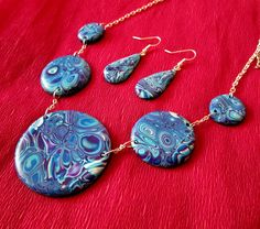 blue-turquoise-white jewelry set christmas gift for wife mom fashion gifts by FloralFantasyDreams on Etsy White Necklace, Love Necklace, Christmas Gifts For Wife, Gifts For Mom, Jewelry Gifts, Unique Jewelry, Polymer Clay Necklace, Mom Fashion, Handmade Jewelry Designs