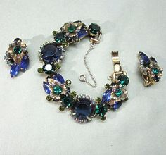 Juliana D & E Chunky Blue Rhinestone Bracelet and Earrings from Cobayley Vintage Jewelry Antiques Collectibles on Ruby Lane