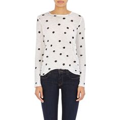 Proenza Schouler Long-Sleeve T-Shirt ($290) ❤ liked on Polyvore featuring tops, t-shirts, white, longsleeve t shirts, long sleeve t shirt, white polka dot top, long sleeve tops and proenza schouler t shirt