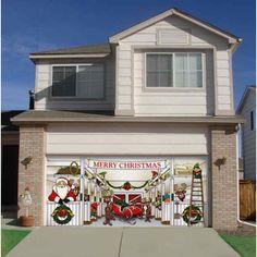 Holiday Garage Door Decor -Santa's Reindeer Barn Standard 2 Car Garage Door Decor