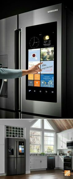Refrigerator Make the kitchen the center of your home. Samsung's Family Hub™ Refrigerator helps you manage your home and your life, with 3 Built-in cameras for Deco Design, Küchen Design, House Design, Interior Design, Design Ideas, Cuisines Design, House Goals, My Dream Home, Dream Homes