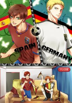 its the fifa world cup Germany vs Spain. Romano's going for Spain and Italy is cheering for Germany! Who will you pick, who will win? << I wish I have known hetalia during last year's world cup. Germany Vs Spain, Hetalia Germany, Germany And Italy, Spain Vs, Hetalia Funny, Hetalia Fanart, Hetalia Anime, Spamano, Usuk