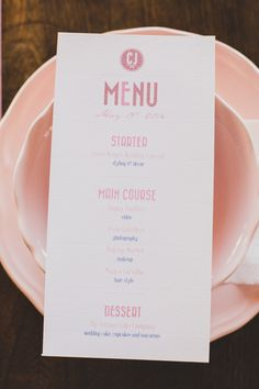 menu with pink print, photo by Jesus Caballero http://ruffledblog.com/second-anniversary-photoshoot-with-cotton #papergoods #receptionmenu