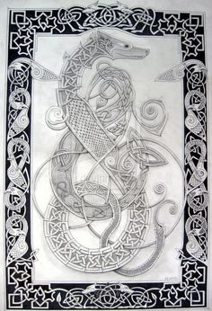 celtic dog 1 by knotty-inks on DeviantArt Norse Tattoo, Celtic Tattoos, Viking Designs, Celtic Designs, Viking Art, Viking Symbols, Celtic Dragon, Celtic Art, Dog Outline