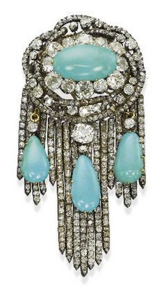 ANTIQUE DIAMOND AND TURQUOISE BROOCH; Circa 1870.