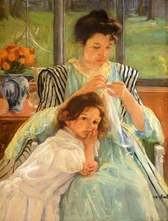 """Young Mother Sewing,"" Mary Cassett #art #children"