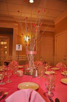 Quinceanera Centerpiece, Pink Branch Centerpiece Idea, Shop Tall Branches for DIY centerpiece ideas #quinceaneracenterpiece #pinkquinceanera #afloral Photocredit: theperfectpair via flickr