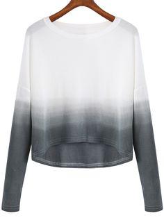 Shop Grey White Ombre Round Neck Crop Knitwear online. SheIn offers Grey White…