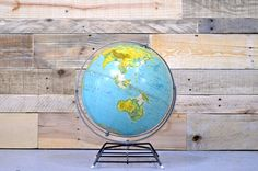 Vintage World Globe 1960s Nystrom 12 Inch by ScoutandForge on Etsy