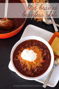 Beer Braised Beanless Chili | Melanie Makes melaniemakes.com