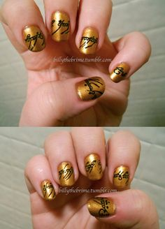 """""""Lord of the Rings nail art (resembling the inscription on the Ring)""""  -----Kinda nerdy i know, but i just htink it looks cool:) i dont even know LOTR that well:P"""