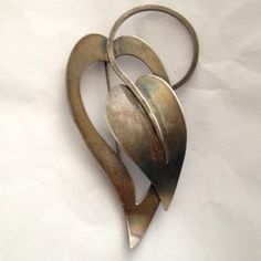 Paul Lobel Mid Century Modern .925 Sterling Silver Leaf Brooch