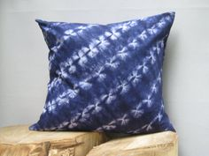 Indigo Bazin Pillow Hand tie dye pillow ShiboriTie by AddisonMade