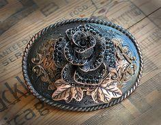 Ornate Belt Buckle - Black Crystal Rose and Copper - Womens - Feminine Bronze Romantic Modern Elegant Gift - Ladies on Etsy, $70.00