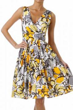 Floral Print Knee Length Sun Dress   Modern Vintage Boutique $58