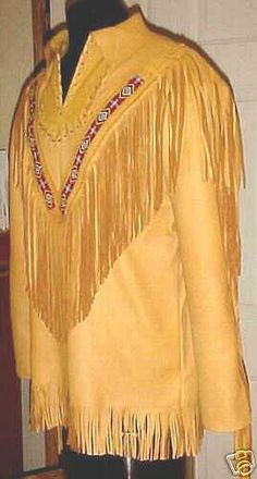 Gold Buckskin Native American Shirt Jacket - Click Image to Close Native American Shirts, Native American Wedding, Native American Fashion, American Indians, Mountain Man Clothing, Old West Boots, Navajo, Western Wear For Women, American Frontier