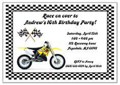 Dirt Bike Birthday Party Invitations Yellow  $1.00 each http://www.festivityfavors.com/item_184/Dirt-Bike-Birthday-Party-Invitations-Yellow.htm
