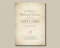 Printable Wedding Rehearsal and Dinner Invitation - Rustic Heart - Brown and Coral (RD32)