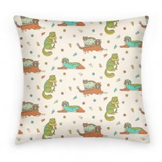 Cats Wearing Dinosaur Costumes #pillow #cats #dinosaur #catpattern #dinosaurpattern #petcostumes