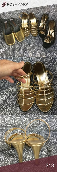 3 Pairs Metallic Gold Heels Charms Slides Kitten You get the lot of three gold shoes.  Nice sexy heels, kitten and slides.  For the most part unmarked with a size 5.5 size 6.  See pictures for condition-all used. Agnix Shoes Heels