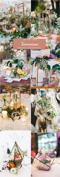 geometric terrarium wedding centerpieces / http://www.deerpearlflowers.com/wedding-centerpiece-ideas/