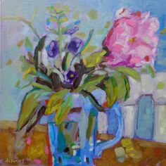 EASY LIVING small original still life flower painting by Jean Delaney size 10 x…