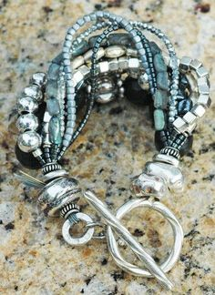 Captivating Gray, Charcoal, Silver and Black Statement Bracelet   XO Gallery
