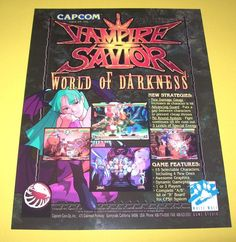 Capcom VAMPIRE SAVIOR World Of Darkness Original NOS Video Arcade Game Flyer #Capcom