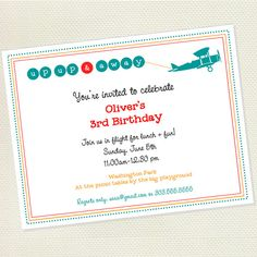 Biplane Birthday Invitations by InkspotWorkshop on Etsy, $22.50
