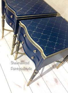 Sold Example of Gold End Tables Blue Nightstands Vintage   Etsy Navy Furniture, Metallic Painted Furniture, Funky Furniture, Refurbished Furniture, Paint Furniture, Refurbished End Tables, Painting Fabric Furniture, Diy Furniture Renovation, Furniture Makeover