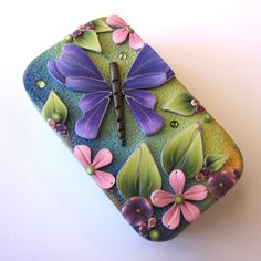 Purple Butterfly Slide Top Tin Sewing Needle Case