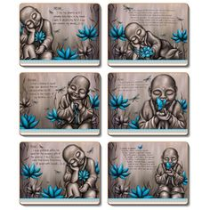 From the Soul Monk - Blue - Set of 6 Placemats and Coasters by Lisa Pollock