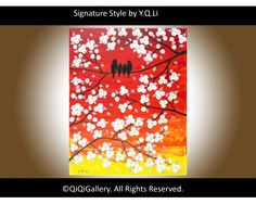 Sun Is Setting Abstract Landscape Handmade Acrylic Painting Heavy Texture Impasto Tree Palette Knife Wall Décor by QIQIGALLERY, SOLD