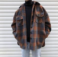 Winter Wollmantel Männer Warmer Mantel Mode Retro Hit Farbe Tartan Wolljacke Herren Streetwear Loose Long Woolen Jacket Man Source by oyamaaneaki clothes Vintage Outfits, Retro Outfits, Casual Outfits, Flannel Outfits, Girly Outfits, Urban Outfits, 90s Style Outfits, Indie Fall Outfits, Mens Fall Outfits