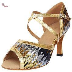 Oasap Women's Multi Sequin Ankle Strap Latin Dance Shoes, Golden EURO41/US10/UK8 - Chaussures oasap (*Partner-Link)