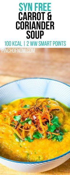 Syn Free Carrot and Coriander Soup   Pinch Of Nom Slimming World Recipes 100 kcal   Syn Free   2 Weight Watchers Smart Points