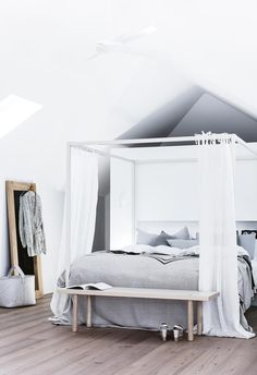 A creative couple build a modern beach house - This bedroom features a white canopy bed with sheer curtains against a timber floor. A timber bench - Beach House Bedroom, Beach House Decor, Home Bedroom, Bedroom Decor, Home Decor, Bedrooms, Beach Houses, Bedroom Inspo, Dream Bedroom