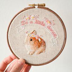 """Do a Little Dance - Bunny Rabbit & Flowers Handmade Embroidery Hoop Wall Art 5"""""""