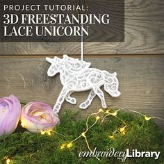 Free project instructions to create a freestanding lace unicorn. Lace Earrings, Crochet Earrings, Lace Embroidery, Embroidery Ideas, Burlap Projects, Sewing Hacks, Sewing Tips, Machine Embroidery Designs, Diy And Crafts