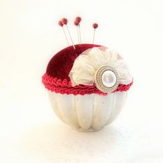 Pincushion needlecraft vintage Jello mold Victorian Valentines day cranberry red velveteen decorative straight pins TAGT tenX