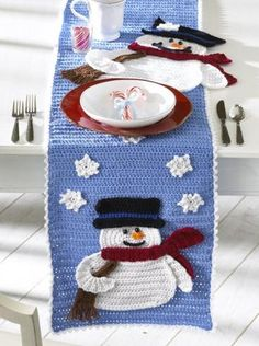 Frosty Fellows Table Runner Crochet PatternDress up your dining room table or decorative counter space with a festive snow-inspired table runner. Frosty Fellows Crocheted Table Runner is a winter-seas Crochet Christmas Gifts, Christmas Crochet Patterns, Holiday Crochet, Crochet Gifts, Crochet Blanket Patterns, Crochet Doilies, Christmas Crafts, Crochet Blankets, Christmas Snowman