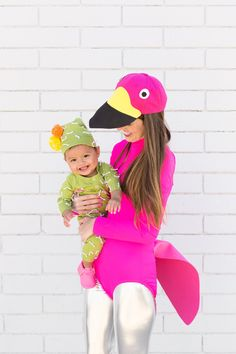 Keeping with a Palm Springs theme, we had to add a DIY lawn flamingo costume to the mix!!! Silver leg(ing)s and all!!!! Samantha had the genius idea to make the hat a baseball cap which I'm VERY into! And of course, we had to bring back our cactus costume in mini form for baby Arlo…