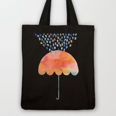 Rainbow Umbrella Tote Bag by Kanika Mathur - $18.00