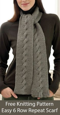 Free Knitting Pattern for Easy 6 Row Repeat Cable Scarf - Ribbed scarf with a si. Free Knitting Pattern for Easy 6 Row Repeat Cable Scarf - Ribbed scarf with a simple cable creates an elegant scarf in a. Mens Scarf Knitting Pattern, Mens Knitted Scarf, Cable Knitting Patterns, Easy Knitting, Loom Knitting, Knit Patterns, Knitted Scarves, Sweater Patterns, Vogue Knitting