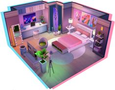 """thenuclearsims: """" Decided to give the dollhouse challenge a try! (idea cred to CC: bed by SimPlistic table lamps by Peacemaker-ic beeple artwork by me / beeple futuristic city art by. Sims 4 House Plans, Sims 4 House Building, Home Building Design, Building Games, Sims Freeplay Houses, Sims 4 Houses, Sims 4 Loft, Sims 4 Bedroom, Sims 4 House Design"""